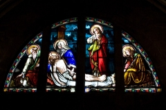 Chapelle Notre-Dame-de-Pitié - English:  Stained glass window of the second row.