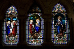 Chapelle Notre-Dame-de-Pitié - English:  Stained glass windows of the third row.