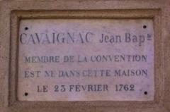 Maison Cavaignac -  Plaque apposée sur la maison Cavaignac à Gourdon (Lot-France)