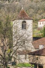 Eglise - English: Bell tower of the Saint Martin Church of Lunan, Lot, France