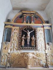 Ancienne église Saint-Pierre-ès-Liens de Gluges - Français:   Retable restauré avec parties en trompe l'œil remplaçant les sculpture manquantes