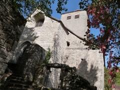 Eglise Saint-Christophe - Français:   Façade ouest de l\'église Saint-Christophe de Montvalent (Lot)