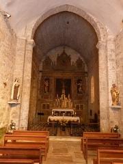 Eglise Saint-Christophe - Français:   Nef et choeur de l\'église Saint-Christophe de Montvalent (Lot)
