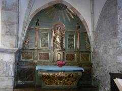 Eglise Notre-Dame - Français:   Retable latéral de l\'église Notre-Dame, Arreau, Hautes-Pyrénées, France. La statue représente sainte Catherine d\'Alexandrie.