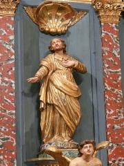 Eglise Notre-Dame - Français:   Statue de saint Joseph, retable du maître-autel, église Notre-Dame, Arreau, Hautes-Pyrénées, France.