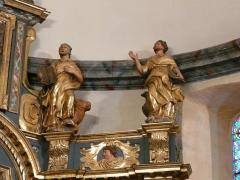 Eglise Notre-Dame - Français:   Les évangélistes: saint Luc et le taureau, saint Jean et l\'aigle; retable du maître-autel, église Notre-Dame, Arreau, Hautes-Pyrénées, France.