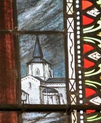 Eglise Saint-Savin - Œuvre de Jules Maumejean. Représentation de l'église abbatiale de Saint-Savin. Détail du vitrail représentant saint Savin, nef de l'église Notre-Dame, Cauterets, Hautes-Pyrénées, France.
