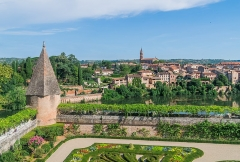 Palais de l'Archevêché ou de la Berbie - English: Garden of the Palais de la Berbie in the foreground, the right bank of Tarn River in the background, Albi, Tarn, France