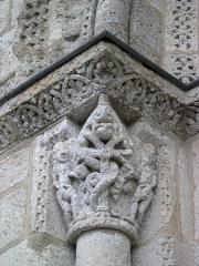Eglise Saint-Michel - Deutsch: Kirche Saint-Michel in Lescure-d'Albigeois, Portal-Kapitell links außen: Adam, Eva und die Schlange am Baum des Lebens.