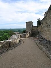 Deuxième porte de l'Irissou et ses deux tours d'enceinte - English: Gate of Irissou, a medieval gate in the city wall of Puycelsi, Tarn, France. The gate is a double defense system (photo taken forward the second gate).