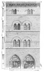 Maison du 13e siècle, dite aussi Maison de la Taverne -  ... Voici (10) une maison de Caussade (Tarn-et-Garonne); elle est  contemporaine  de celle de Saint-Antonin et de celle d'Amiens, et date du milieu du XIIIe siècle. Les bases des piles du rez-de-chaussée, les colonnettes des fenêtres, les bandeaux et les sommiers sont seuls en pierre dure de Caylus; le reste de la construction est en brique. En plan, cette maison donne au premier et au second étage une grande salle presque carrée avec cheminée, un escalier et un cabinet postérieurs éclairés sur un jardin. Le  troisième étage est divisé par une cloison et forme deux pièces. On sent encore, dans cette habitation, l'influence de la petite forteresse privée; c'était là un reste de ces traditions des municipalités méridionales si fort  éprouvées pendant les guerres des Albigeois ...