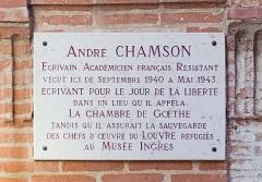 Ancien palais épiscopal, ancien Hôtel de ville, actuellement musée Ingres - English:  Montauban, Tarn-et-Garonne, France. Commemorative plaque for Academician Andre Chamson, 30, «rue de la comédie».