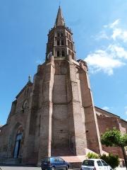 Eglise Notre-Dame de la Visitation - Français:   Le clocher de l\'église Notre-Dame-de-la-Visitation et sa puissante base indépendante (Montech, Tarn-et-Garonne)
