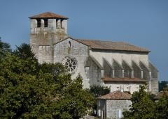 Collégiale Saint-Martin et maisons adossées à son chevet -  Collégiale St Martin, Montpezat-de-Quercy