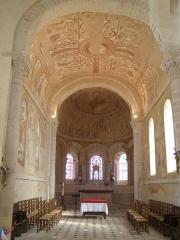 Eglise Saint-Martin - Français:   Intérieur de l\'église de Chalivoy-Milon, avec aperçu des fresques