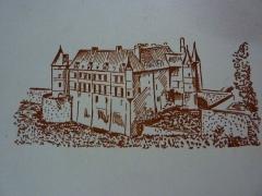 Château - Français:   Sur un bloc de papier à lettres de la Maison de la Presse de Châteauneuf-sur-Cher dans les années 1960.