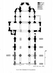 Abbaye Saint-Martin de Plaimpied - Français:   plan niveau 0