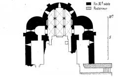 Abbaye Saint-Martin de Plaimpied - Français:   plan et datation de la crypte