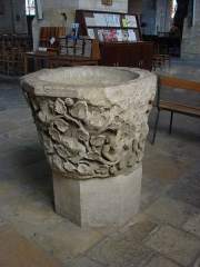 Eglise Notre-Dame - English: Baptismal Font (Church of Notre-Dame of Vierzon, 13th Century)