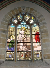 Eglise Notre-Dame - English: Stainde-glass window of St Perpetua of Carthage (church of Notre-Dame of Vierzon, France, 19th century): martyrdom of St Pepetua and her fellows in the stadium of Carthage; saint Felicity on her left