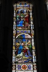 Eglise Notre-Dame - Deutsch: Katholische Pfarrkirche Notre-Dame in Bû im Département Eure-et-Loir (Centre-Val de Loire/Frankreich), Bleiglasfenster, Darstellung: Heimsuchung (unten), Präsentation Jesu im Tempel