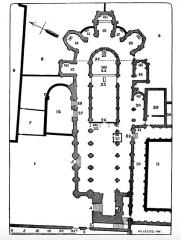 Ancienne abbaye de Saint-Père-en-Vallée, actuellement annexe du lycée Marceau - Čeština: Plán klášterního kostela sv. Petra v Chartres