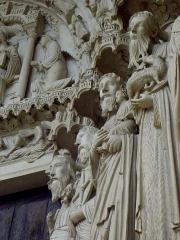 Cathédrale Notre-Dame - Français:   Ébrasement droit du portail central du porche nord de la cathédrale Notre-Dame de Chartres (28). Isaïe, Jérémie, Siméon et Saint-Jean-Baptiste.
