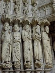 Cathédrale Notre-Dame - Français:   Ébrasement droit du portail central du porche nord de la cathédrale Notre-Dame de Chartres (28). Isaïe, Jérémie, Siméon, Saint-Jean-Baptiste et Saint-Pierre.