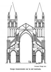 Ancienne abbaye Notre-Dame-du-Bourg-Dieu - Français:   Abbaye de Déols, coupe de la nef