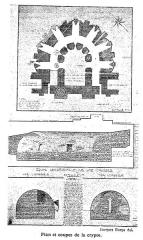 Ancienne abbaye Notre-Dame-du-Bourg-Dieu - Français:   Abbaye de Déols, plan et coupe de la crypte