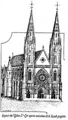 Eglise Saint-Cyr - Français:   Projet de façade à deux clochers de l\'église Saint-Cyr, à Issoudun