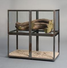 Ancien hôtel-Dieu - Plaque de terre cuite avec empreintes, bois de cade doré à la feuille, verre, métal. 71,7 x 71,7 x 35,8 cm