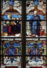 Eglise Sainte-Marie-Madeleine - Français:   Mézières-en-Brenne - Église Sainte-Marie-Madeleine - Vitrail: Antoinette de Chabannes et ses quatre filles présentées par saint Antoine (baie n°6)