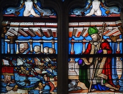 Eglise Sainte-Marie-Madeleine - Français:   Mézières-en-Brenne - Église Sainte-Marie-Madeleine - Vitrail avec saint Nicolas