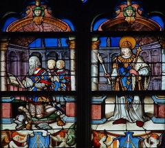 Eglise Sainte-Marie-Madeleine - Français:   Mézières-en-Brenne - Église Sainte-Marie-Madeleine - Vitrail: Louis d\'Anjou et ses deux fils présentés par saint Louis (baie n°4)