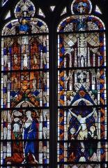 Eglise Sainte-Marie-Madeleine - Français:   Mézières-en-Brenne - Église Sainte-Marie-Madeleine - Vitrail de l\'abside: apparition du Christ à Marie-Madeleine, Crucifixion (baie n°0)