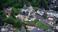 Eglise collégiale Saint-Denis - Deutsch: Amboise, Stiftskirche Saint-Denis, Luftaufnahme (2016)