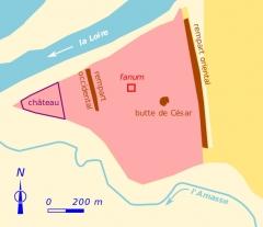 Fanum des Châteliers - Français:   Localisation du fanum au sein de l\'oppidum