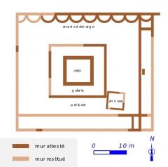 Fanum des Châteliers - Français:   Plan schématique du grand temple de l\'oppidum des Châteliers