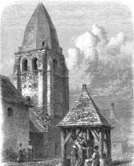 Ancien prieuré de Saint-Jean-du-Gray - Français:   Prieuré Saint Jean du Grais (clocher et puits) par Casimir Chevalier