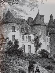 Château de Grillemont et ses communs - Français:   Carte postale représentant le château de Grillemont vers 1830, La Chapelle-blanche-saint-Martin, Indre-et-Loire, France
