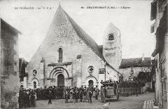 Eglise paroissiale Saint-Médard - Français:   Eglise St Médard de Chaumussay, vers 1900