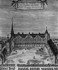 Château du Plessis-lès-Tours - Italiano: Castello di Plessis-lès-Tours nel XVII secolo; acquerello della collezione Gaignières, Biblioteca nazionale di Parigi