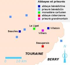 Chapelle Saint-Jean-du-Liget - Français:   établissements monastiques du sud-est de la Touraine au Moyen Âge