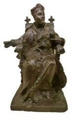 Maison de Rabelais, actuellement Musée de la Devinière - Français:   Sculpture d\'Alfred-Désiré Lanson (1851-1898). Rabelais assis, coiffé de son bonnet de docteur en médecine. Bronze. Dépôt du musée des Beaux arts d\'Orléans à la maison de la Devinière