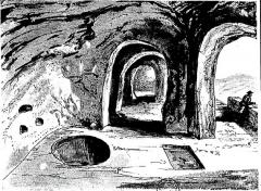 Ancienne abbaye de Marmoutier -  Baptistère dans la partie troglodyte de l'abbaye de Marmoutier, avec la piscine d'immersion à gauche et le puits à droite