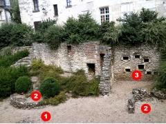 Ancienne église Saint-Pierre-le-Puellier - Français:   Fosse archéologique de Saint-Pierre le Puellier (Tours)  (1) murs du premier siècle (2) murs des second et troisième siècles  (3) tombes médiévales