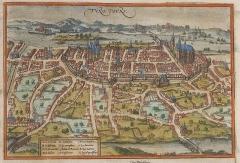 Ancien palais des Gouverneurs -  Tours. Les deux entités réunis au cours du XIV° siècle: à l'ouest Chateauneuf autour de la basilique Saint-Martin, à l'est l'ancienne cité autour du château, qui contrôle le pont d'Eudes, et la cathédrale Saint-Gatien