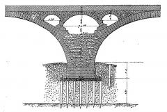 Grand Pont, dit Pont de pierre ou Pont Wilson -  Coupe d'une pile du pont Wilson montrant un élégissement (évidement permettant d'alléger la charge), Tours, Indre-et-Loire, France