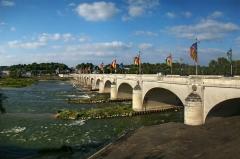 Grand Pont, dit Pont de pierre ou Pont Wilson - English: Wilson Bridge, Tours, Indre-et-Loire, Centre, France. Stretching across the Loire River.